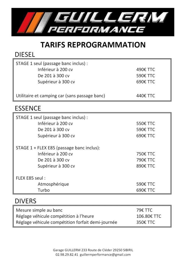 TARIFS REPROGRAMMATION - Reprogrammation moteur